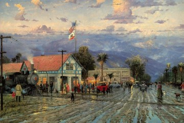Hemet 1915 Florida Avenue at Dusk cityscape Oil Paintings
