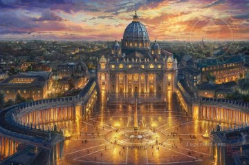 Vatican Sunset cityscape Oil Paintings