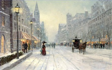 Other Urban Cityscapes Painting - Winter Dusk Thomas Kinkade cityscapes