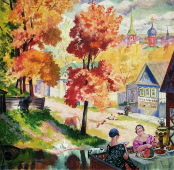 autumn in the province teatime 1926 Boris Mikhailovich Kustodiev cityscape city scenes Oil Paintings