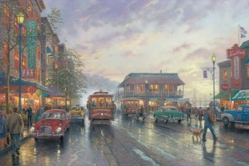 Other Urban Cityscapes Painting - City by the Bay Thomas Kinkade cityscapes