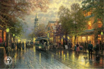 Other Urban Cityscapes Painting - Evening on the Avenue Thomas Kinkade cityscapes
