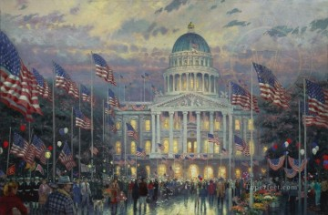 Flags Over The Capitol cityscape Oil Paintings