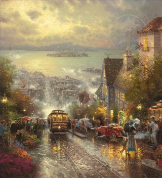 Hyde Street And The Bay San Francisco Thomas Kinkade cityscapes Oil Paintings