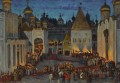 KREMLIN AT NIGHT ON EVE OF CORONATION OF TSAR MIKHAIL Russian cityscape city views