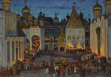 KREMLIN AT NIGHT ON EVE OF CORONATION OF TSAR MIKHAIL Russian cityscape city views Oil Paintings