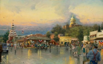 Main Street Courthouse cityscape Oil Paintings