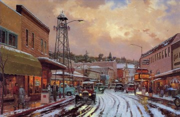 Other Urban Cityscapes Painting - Main Street Matinee Thomas Kinkade cityscapes