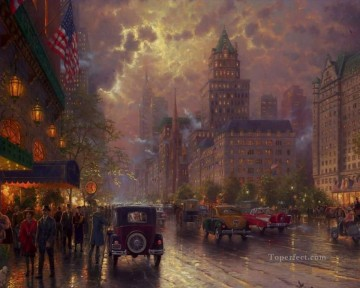 Other Urban Cityscapes Painting - New York 5th Avenue Thomas Kinkade cityscapes