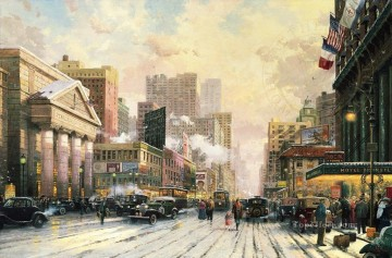 New York Snow on Seventh Avenue 1932 cityscape Oil Paintings
