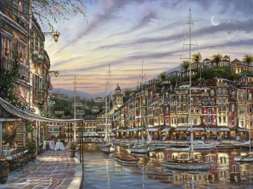 Dawn Painting - Portofino Dawn cityscapes