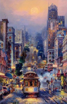 Powell Street cityscape modern city scenes Oil Paintings