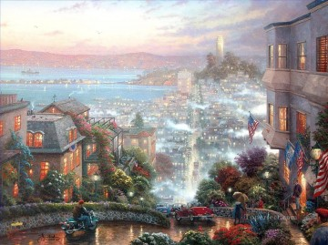 Other Urban Cityscapes Painting - San Francisco Lombard Street Thomas Kinkade cityscapes