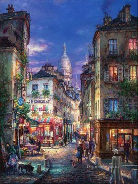 Stroll Montmartre cityscape modern city scenes Oil Paintings