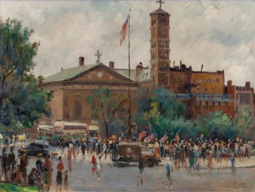 Washington Square Rally cityscape modern city scenes Oil Paintings
