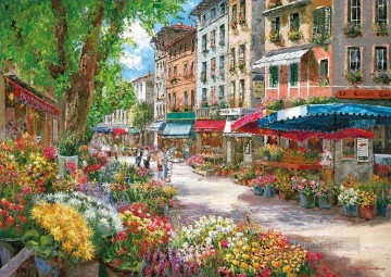cityscape flower stores Oil Paintings