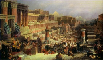 departure of the israelites 1830 David Roberts RA cityscape Oil Paintings