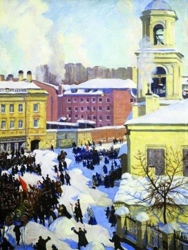 february 27 1917 Boris Mikhailovich Kustodiev cityscape city scenes Oil Paintings