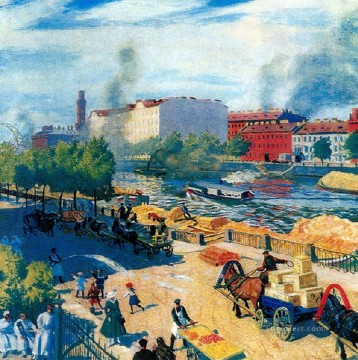 fontanka 1916 Boris Mikhailovich Kustodiev cityscape city scenes Oil Paintings