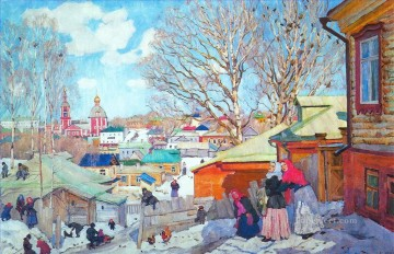 spring sunny day 1910 Konstantin Yuon cityscape city scenes Oil Paintings