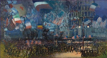 Artworks in 150 Subjects Painting - Armistice Night George luks cityscape street scenes city