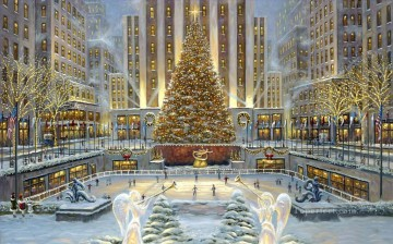 Other Urban Cityscapes Painting - Christmas in New York cityscapes