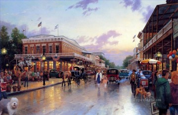 Other Urban Cityscapes Painting - Main Street Celebration Thomas Kinkade cityscapes