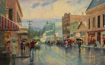 Main Street Trolley cityscape Oil Paintings