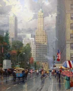 New York Central Park South at Sixth Ave cityscape Oil Paintings