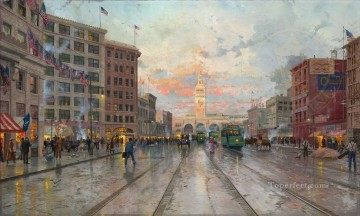 San Francisco 1909 cityscape Oil Paintings