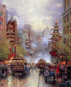 San Francisco A View Down California Street From Nob Hill Thomas Kinkade cityscapes Oil Paintings