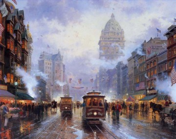 Other Urban Cityscapes Painting - San Francisco Market Street Thomas Kinkade cityscapes