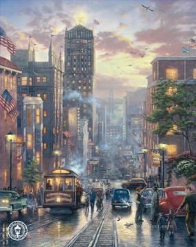 Other Urban Cityscapes Painting - San Francisco Powell Street Thomas Kinkade cityscapes