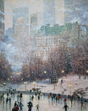 Skating in the Park cityscape Oil Paintings