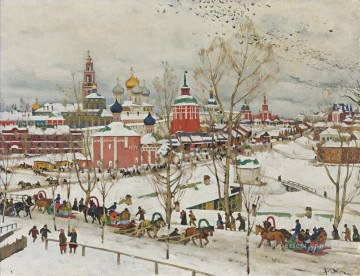 Artworks in 150 Subjects Painting - TROITSE SERGIYEVA LAVRA IN WINTER Konstantin Yuon cityscape city scenes