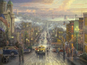 Other Urban Cityscapes Painting - The Heart of San Francisco Thomas Kinkade cityscapes