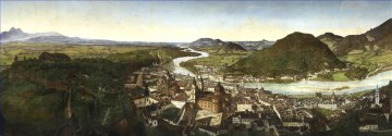 The unique city panorama JM Sattler Salzburg Austrian cityscape Oil Paintings