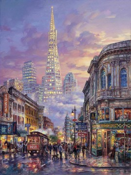 Transamerica Pyramid cityscape modern city scenes Oil Paintings