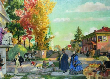 Artworks in 150 Subjects Painting - autumn festivities 1922 Boris Mikhailovich Kustodiev cityscape city scenes