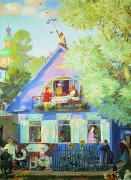 Artworks in 150 Subjects Painting - blue house 1920 Boris Mikhailovich Kustodiev cityscape city scenes