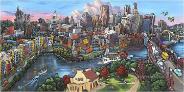 cityscape of St Paul Downtown Oil Paintings