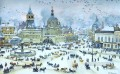 lubyanskaya square in winter 1905 Konstantin Yuon cityscape city scenes