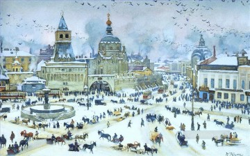 lubyanskaya square in winter 1905 Konstantin Yuon cityscape city scenes Oil Paintings