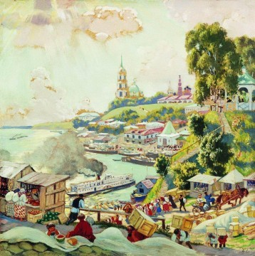 Artworks in 150 Subjects Painting - on the volga 1910 Boris Mikhailovich Kustodiev cityscape city scenes
