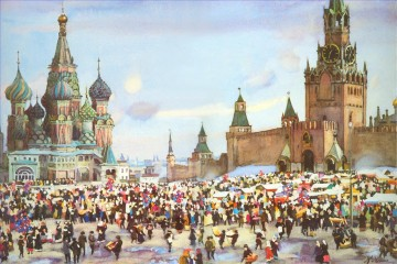 Artworks in 150 Subjects Painting - palm sunday bazaar on red square 1916 Konstantin Yuon cityscape city scenes