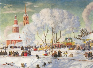 Artworks in 150 Subjects Painting - shrovetide 1920 Boris Mikhailovich Kustodiev cityscape city scenes