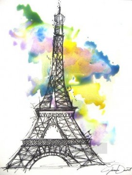 Paris Painting - eiffel drawing