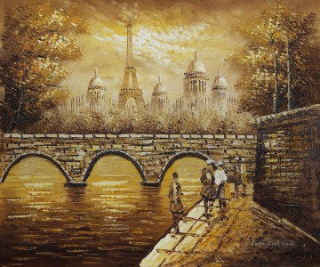 PARIS EIFFEL tower from bridge Oil Paintings