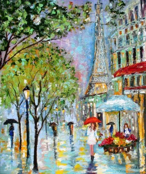 umbrellas under effel tower Oil Paintings