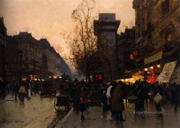 Artworks in 150 Subjects Painting - Eugene Galien Laloue Animation Pres de la Porte Saint Den Parisian